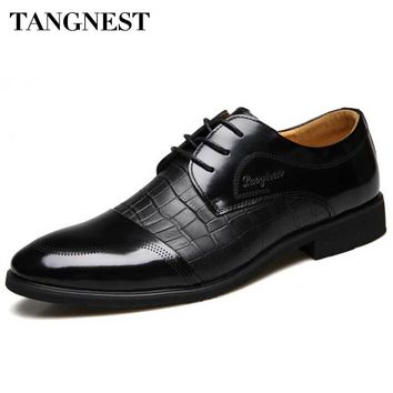 Tangnest Men Dress Shoes 2017 New Men Wedding Party Shoes Casual Round Toe Lace Up Flats For Men Oxfords Black Brown XMP712