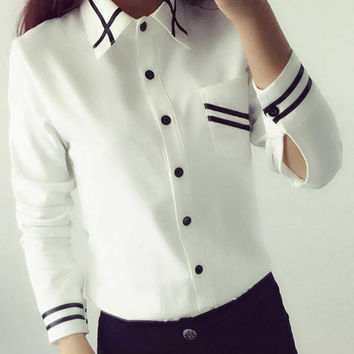 Fashion Women Office Lady's Blouses Fashion 2016 Autumn Long Sleeve Sequin Chiffon Ladies Office Shirt White Blue Tops Formal