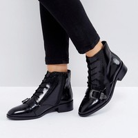 ASOS ADINA Leather Lace Up Boots at asos.com
