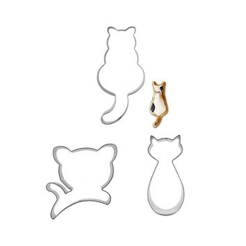 3pcs Kitty Cat Bakeware Set Stainless Steel Cookie Mold Biscuit Stamp Dessert Tools Cake Decorating Pasta French Press Utensils