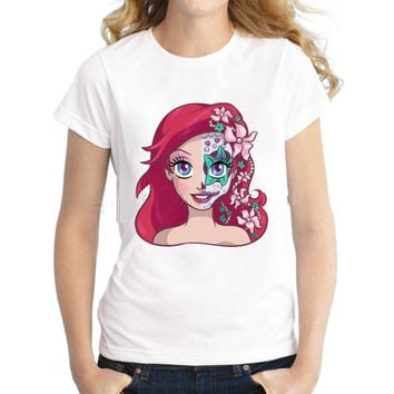 Princess Ariel the Little Mermaid / Sugar Skull on a Women or Mens (PLUS SIZE) T-Shirt
