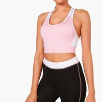 Ellie Fit Colour Block Racer Back Sports Bra | Boohoo