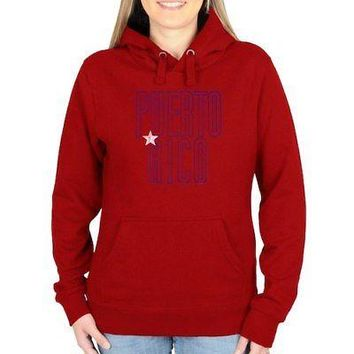 Licensed Sports Puerto Rico Women's Flag Pullover Hoodie - Red KO_20_2
