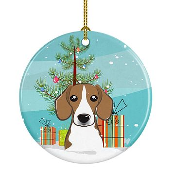 Christmas Tree and Beagle Ceramic Ornament BB1611CO1