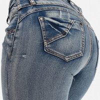 Distressed Skinny Jeans With Ruched Back Pockets