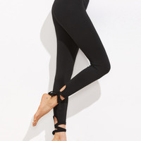 Black Lace Up Hem Leggings