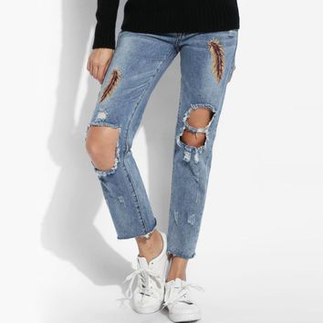 New Women Fashion Slim Feather Embroidery Casual Holes Skinny Pencil Jeans Ripped Jeans 2017 Woman Skinny Pants Slim Trousers