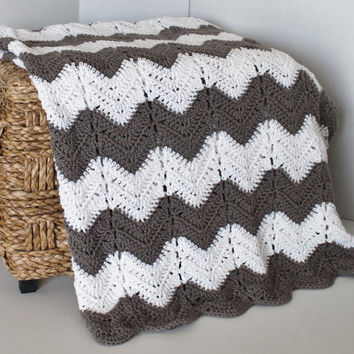 Afghan - Handmade Ripple Crochet Blanket - Pewter Grey and White