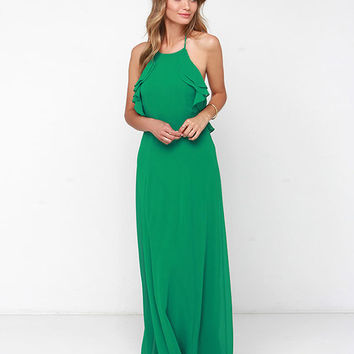 Halter Backless Ruffled Top A-Line Maxi Dress