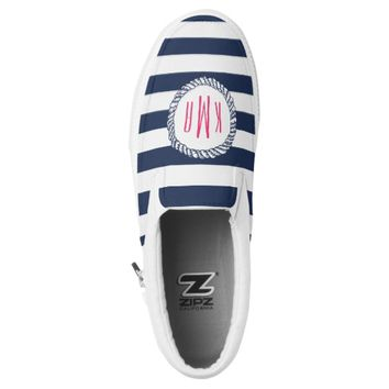 Nautical Pink & Navy Preppy Stripe Rope Monogram Slip-On Sneakers