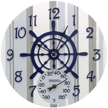 """Springfield 14"""" Poly Resin Clock With Thermometer (captain's Wheel)"""