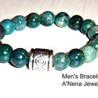 "Bracelet For Men Genuine Green Jasper Silverplated Copper ""The Secret Of Being Peaceful """