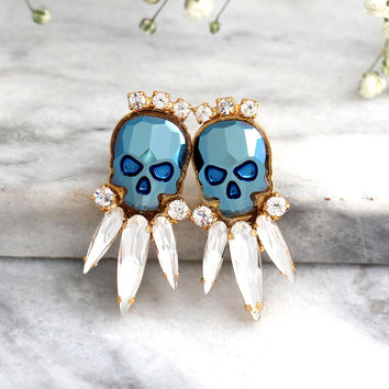 Skull Earrings, Sugar Skull Earrings, Skull Stud Earrings, Rock N Roll Bride Earrings, Gift For Her, Gothic Bride Jewelry, Crystal Earrings