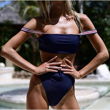 Summer new fashion personality solid color stripe sexy straps two piece bikini swimsuit Navy blue