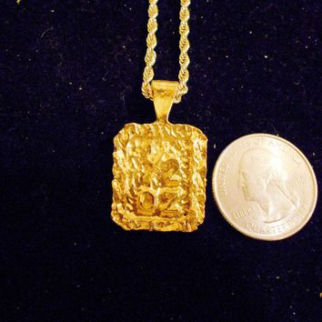 bling 14kt yellow gold plated half oz good luck lucky nugget sign symbol casino gambling pendant charm 24 inch rope chain hip hop trendy fashion necklace jewelry