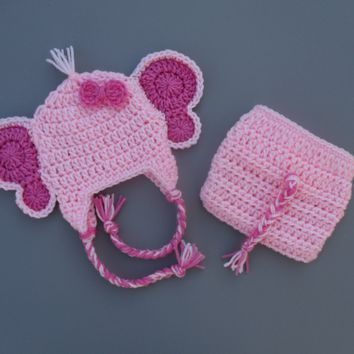 Pink Newborn Crochet Elephant Outfit Baby Photo Prop