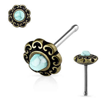 Bronze Turquoise Centered Tribal Heart Filigree Antique Plated Top 316L surgical Steel Nose Stud Rings