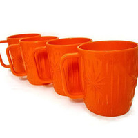 Starburst Mugs Plastic Set of Four Vintage Bright Orange Coffee Cups Mid Century Atomic Sunburst