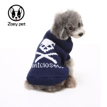 Dog clothes navy blue rose red skull bones autumn winter dogs sweater,pet apparel