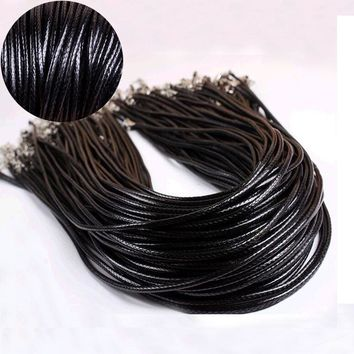 "KISSWIFE 3Pcs 2mm Twisted Braided Rope Black/Brown Leather Cord Chain 20"" Necklace Silver Clasp String Rope For Women"