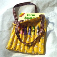 Ready-to-Go Coloring Tote WITH Book and Crayons - Yellow Puppies