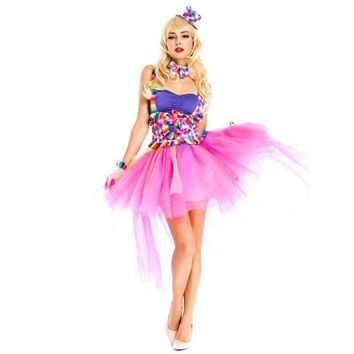 ESBN3C Women's halloween costumes sexy circus clown cospl