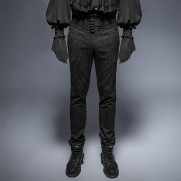 Gothic Vintage Plate Button Man Pants Steampunk Black Suit Fabric Slim-Fitting Trousers