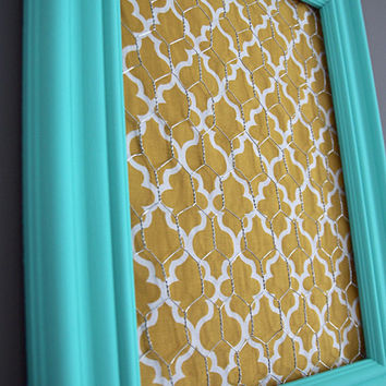 Aqua Framed Chicken Wire Organizer / Memo Board / Jewelry Hanger / Yellow & White Moroccan tile