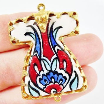 Hand painted Turkish Ottoman Caftan Pendant Connector - Red Blue Tulip No: 10 - Cini Ceramic - Gold plated 1pc - GP106