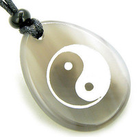 Lucky Ying Yang Balance Amulet Natural Agate Word Stone Necklace