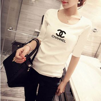 Women Simple Casual Fashion Letter Print Middle Sleeve Bodycon T-shirt Top Tee