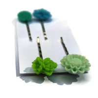 Flower bobby pins - green blue teal - set of four - silver pins