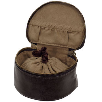 Wolf Designs Abbot Brown Faux Leather Travel Pouch 321351