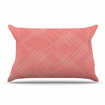 "Famenxt ""All A Blaze Abstract"" Coral Beige Illustration Pillow Case"