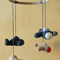 Airplane baby mobile - organic cotton - crochet airplane mobile - aeroplane mobile - custom mobile - nursery decor