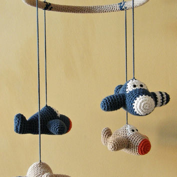 Amigurumi Plane Baby Mobile : Crochet toy baby rattles amigurumi from ByMarika on Etsy