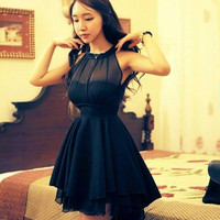Sleeveless Bodycon Dress With Open Back Bandage Peplum Casual Lace Dresses VVF = 1931964228