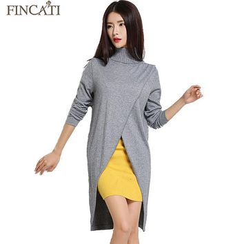 Fincati 2018 Women Autumn Turtleneck Cashmere Blend Dress Fashion Asymmetrical Hem Knitted Pullover Dresses All Match Knitwear