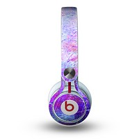 The Abstract Blue & Pink Surface Skin for the Beats by Dre Mixr Headphones