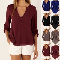 Women Summer Loose V Neck Chiffon Tops Ladies Long Sleeve T Shirt Casual Blouse