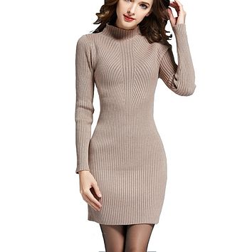 Fashion Sweater Dresses For Women Autumn Winter Warm Long Sleeve High Neck Primer Dress Soft Cable Knit Dress Cheap Knitwear