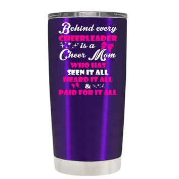 Behind Every Cheerleader is a Cheer Mom on Translucent Purple 20 oz Tumbler Cup
