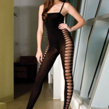 Sheer Body Stocking With Side Oval Design Body Stocking Sheer Unitard