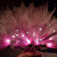 Flower String Lights Purple and White Champaka  For Bedroom and Wedding Decoration 20 Lights / Set