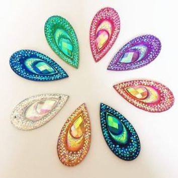 10PCS AB Resin Peacock Teardrop Flatback  Rhinestone Wedding decoration 2 Hole