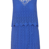 Crochet Overlay Dress - Cornflower B