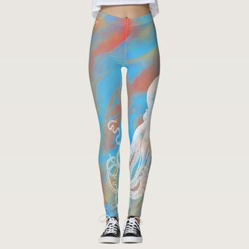 White Octopus Blue Orange Abstract Leggings