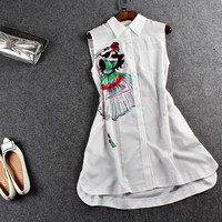 White Lady Print Sleeve Button Collared Dress
