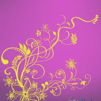 Vinyl Wall Decal Sticker Flower Vines Floral #539