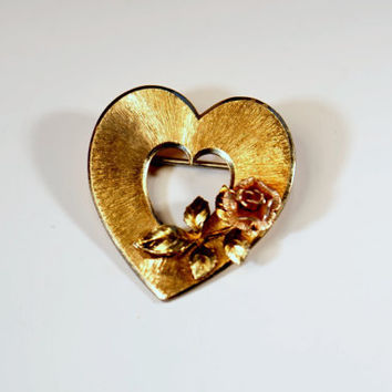 Vintage Gold Toned Heart Pin, Jewelry, Pins, Signed by Krementz, Valentines Day